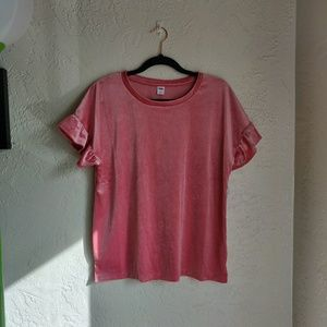 Old Navy | pink velvet sparkle ruffle top NWT